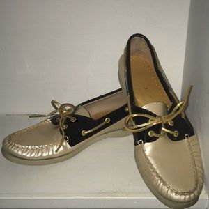 Sperry 9.5 leather pearlescent gold black loafers